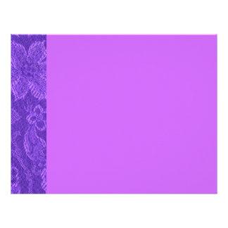 Papel con membrete púrpura Amethyst floral del vin Plantilla De Membrete