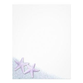 Papel con membrete púrpura de las estrellas de mar membrete a diseño