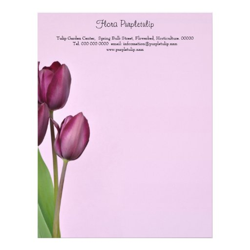 Papel con membrete púrpura de los tulipanes membretes personalizados