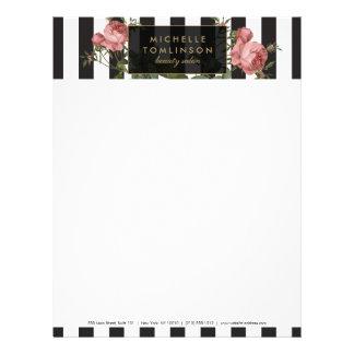 Papel con membrete rayado floral del salón del plantillas de membrete