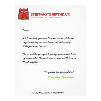 Papel con membrete rojo del cumpleaños del búho membrete personalizado