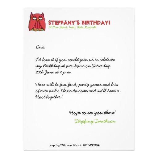Papel con membrete rojo del cumpleaños del búho plantillas de membrete