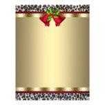 Papel con membrete rojo del navidad del leopardo d tarjetas publicitarias