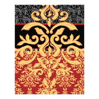 Papel con membrete rojo, negro y del oro real dora membrete