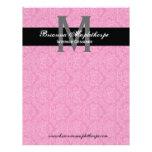Papel con membrete rosado blanco negro del monogra membretes personalizados