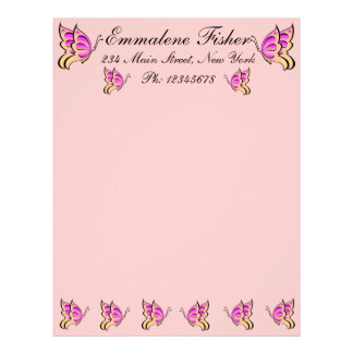 Papel con membrete rosado bonito de la mariposa membrete personalizado