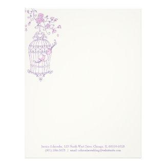 Papel con membrete rosado púrpura de la jaula de p membrete