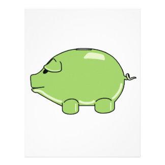 Papel con membrete verde del cerdo plantillas de membrete