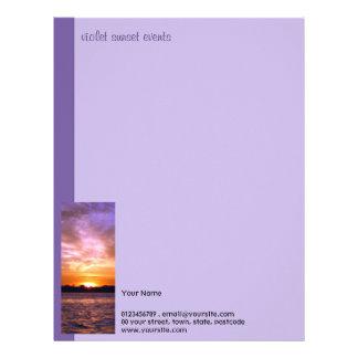 Papel con membrete violeta de la puesta del sol membretes personalizados