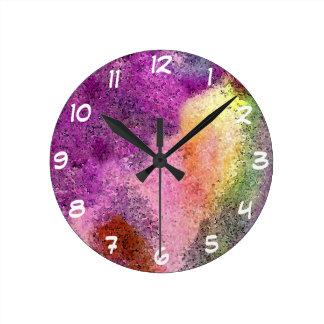 Papel de arroz pintado acuarela reloj redondo mediano