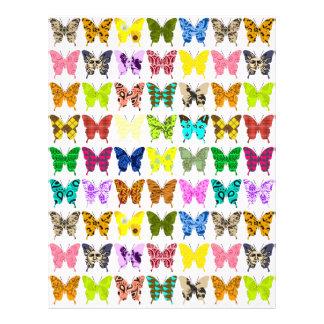 Papel de arte del collage de la mariposa membrete personalizado