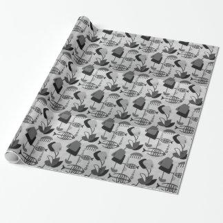 Papel de embalaje atómico blanco y negro del papel de regalo