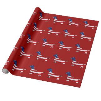 Papel de embalaje azul blanco rojo del Dachshund