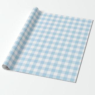 Papel de embalaje azul claro y blanco de la guinga papel de regalo