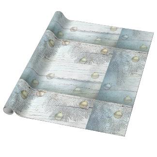 Papel de embalaje azul de los ornamentos del papel de regalo