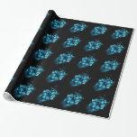 Papel de embalaje azul del cráneo del fuego papel de regalo
