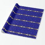 Papel de embalaje azul del oro de Chanukah