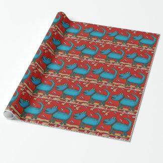 Papel de embalaje azul del perro papel de regalo