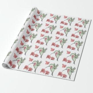 Papel de embalaje (blanco) banal del colibrí papel de regalo