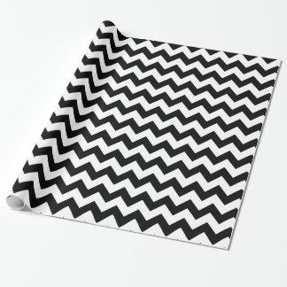 Papel de embalaje blanco y negro de Chevron