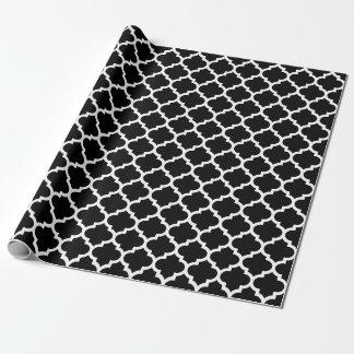 Papel de embalaje blanco y negro de Quatrefoil