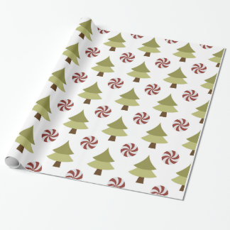 Papel de embalaje brillante del árbol de navidad papel de regalo