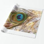 Papel de embalaje chispeante de la pluma del pavo