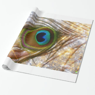 Papel de embalaje chispeante de la pluma del pavo papel de regalo