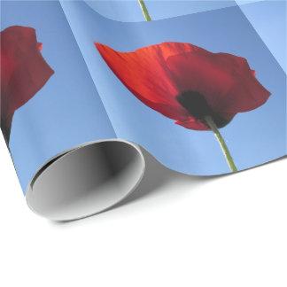 Papel de embalaje - cielo azul de la amapola roja papel de regalo