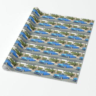 Papel de embalaje clásico azul del coche papel de regalo