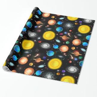 Papel de embalaje colorido de la astronomía del papel de regalo