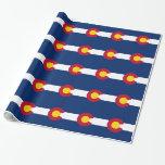 Papel de embalaje con la bandera de Colorado