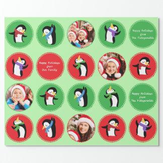 Papel de embalaje de encargo de la danza verde del papel de regalo