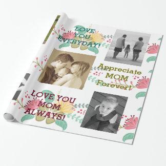 Papel de embalaje de encargo floral colorido de la papel de regalo