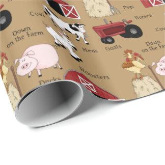 Papel de embalaje de la diversión de la granja del papel de regalo