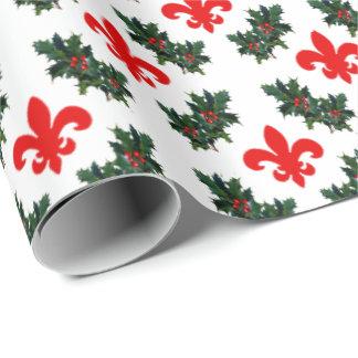 Papel de embalaje de la flor de lis y del acebo papel de regalo