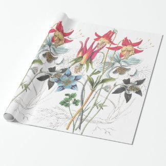 Papel de embalaje de las flores de Columbine Papel De Regalo