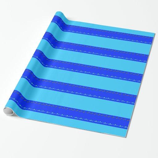 Papel de embalaje de las hojas del azul papel de regalo