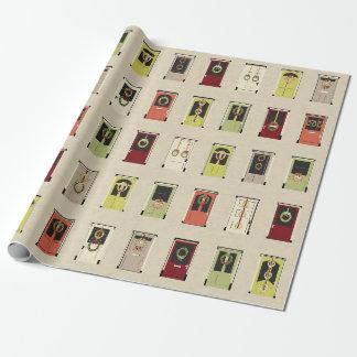 Papel de embalaje de las puertas del día de fiesta papel de regalo