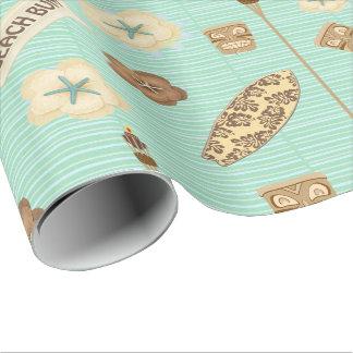 Papel de embalaje de lino del vago de la playa papel de regalo