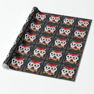 Papel de embalaje de los cráneos del amor papel de regalo