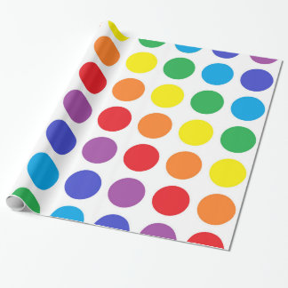 Papel de embalaje de los lunares del arco iris papel de regalo