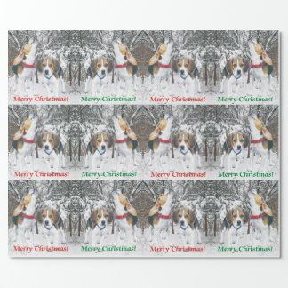 Papel de embalaje de los perritos y de maderas del papel de regalo