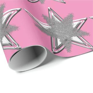 Papel de embalaje de plata rosado de la estrella papel de regalo