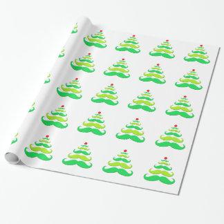 Papel de embalaje del árbol de navidad del bigote