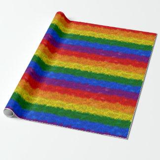 Papel de embalaje del arco iris de la piel de papel de regalo