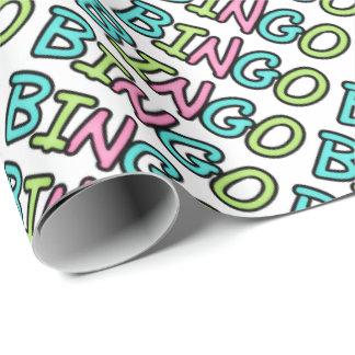 Papel de embalaje del arte de la palabra del bingo papel de regalo