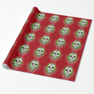 Papel de embalaje del bastón del cráneo y de papel de regalo