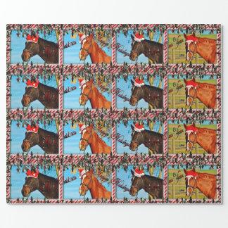 Papel de embalaje del caballo del navidad papel de regalo