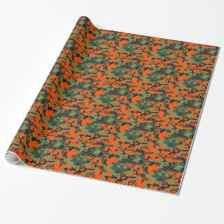 Papel de embalaje del camuflaje del naranja y del papel de regalo